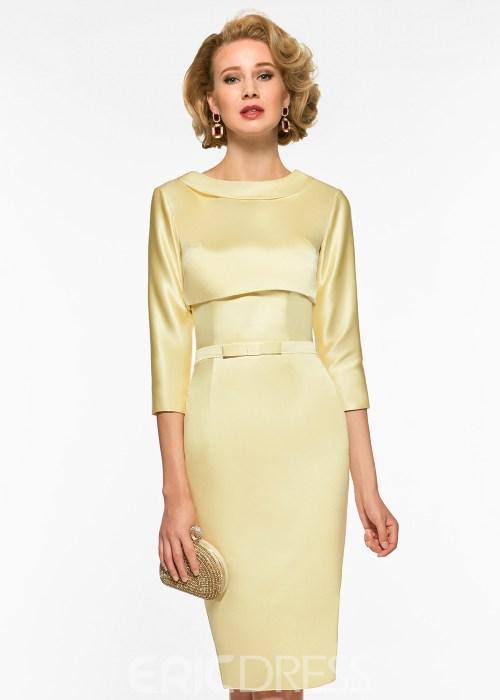 Sheath Knee Length 3-4 Length Sleeves Mother of The Bridesmaid Dress