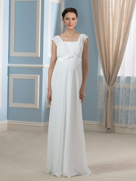 Simple Square A Line Empire Maternity Wedding Dress