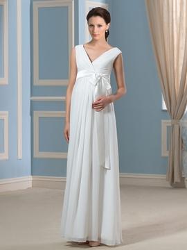 Simple V Neck Chiffon Maternity Wedding Dress