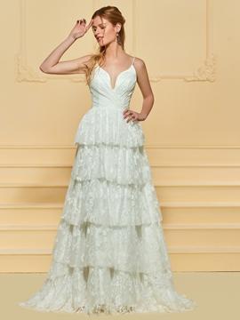 Spaghetti Straps A Line Lace Wedding Dress