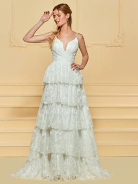 Spaghetti Straps A Line Lace Wedding Dress