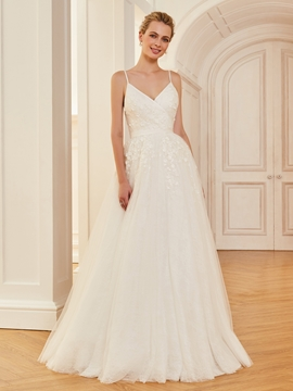 Spaghetti Straps Appliques A Line Tulle Wedding Dress