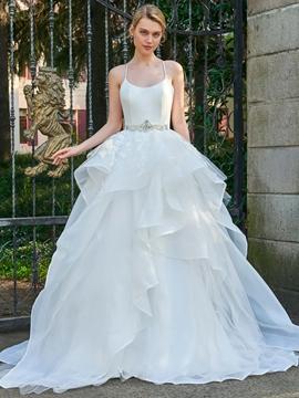 Spaghetti Straps Ball Gown Beaded Wedding Dress