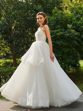 Spaghetti Straps Ball Gown Tulle Wedding Dress