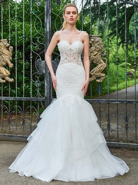 Spaghetti Straps Mermaid Appliques Tulle Wedding Dress