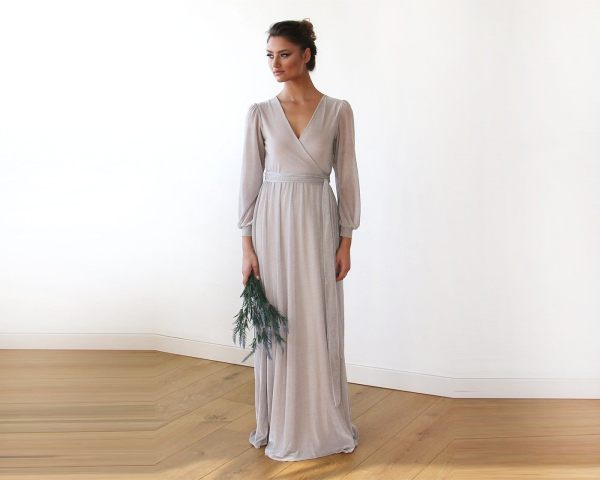 Sparkly Light Grey Crossover Maxi Dress With Belt 1168