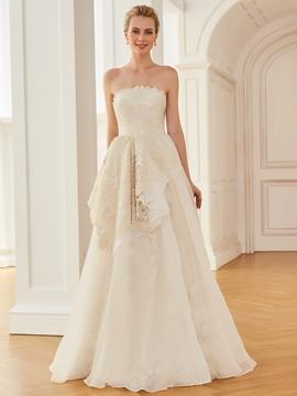 Strapless A Line Lace Floor Length Wedding Dress