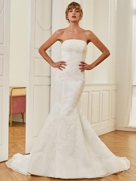 Strapless Appliques Mermaid Wedding Dress
