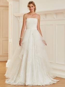 Strapless Sequins Ball Gown Organza Wedding Dress