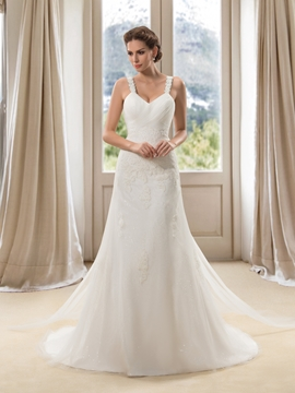 Straps Applqiues Pearls Lace-up Wedding Dress