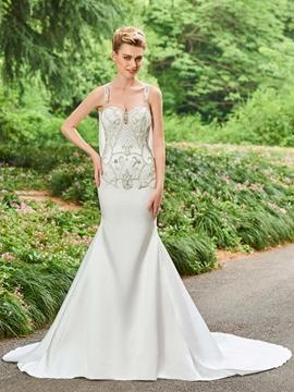 Straps Mermaid Beaded Backless Wedding Dress