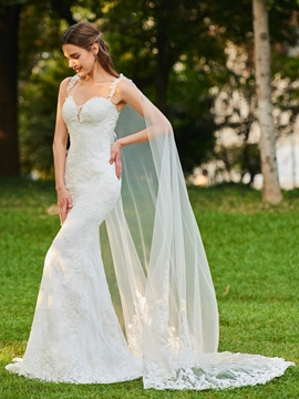 Straps Mermaid Lace Watteau Train Wedding Dress
