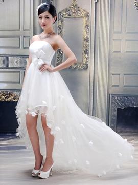 Stunning Ball Gown Strapless Flowers High-low Wedding Dress