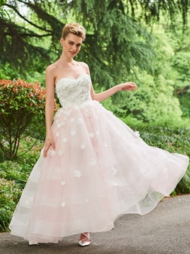 Sweetheart A Line Color Ankle Length Wedding Dress