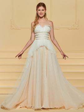 Sweetheart A Line Sweep Train Wedding Dress