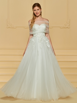 Sweetheart Appliques A Line Tulle Wedding Dress