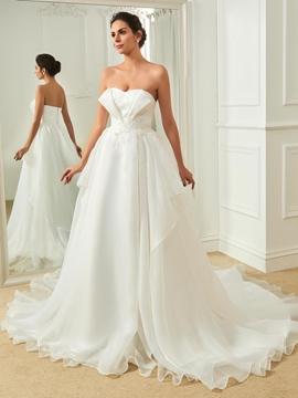 Sweetheart Appliques A Line Wedding Dress