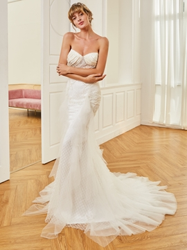 Sweetheart Beaded Mermaid Tulle Wedding Dress