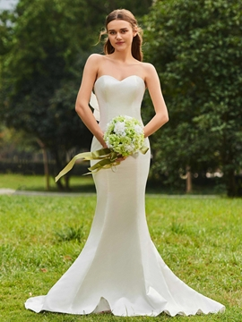 Sweetheart Mermaid Matte Satin Garden Wedding Dress