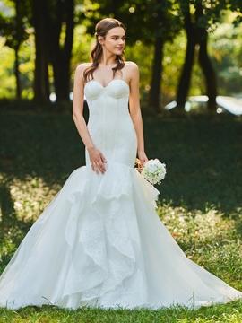 Sweetheart Mermaid Tulle Wedding Dress