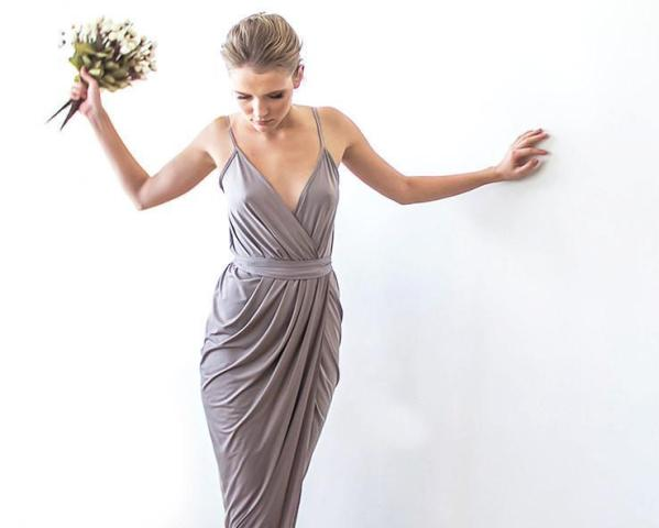 Taupe bridesmaids maxi wrap dress 1033