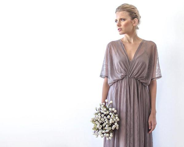 Taupe sheer lace vintage style maxi dress 1044