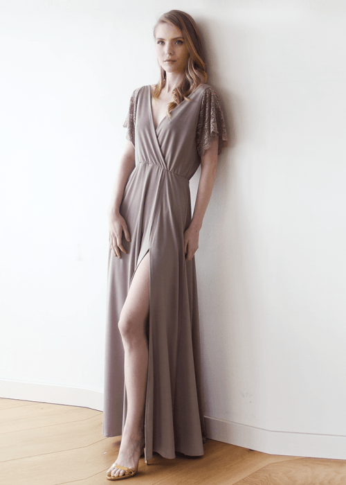 Taupe wrap maxi dress with short lace sleeves 1052