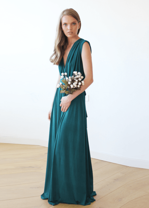 Teal green sleeveless maxi dress 1003