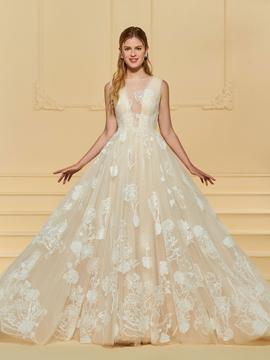 Tulle Appliques A Line Wedding Dress