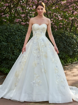 Tulle Sleeveless Sweetheart Colorful Applique A-Line Wedding Dress
