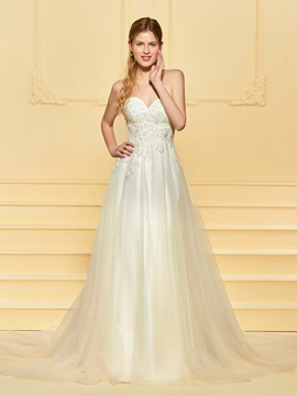 Tulle Sweetheart A Line Wedding Dress