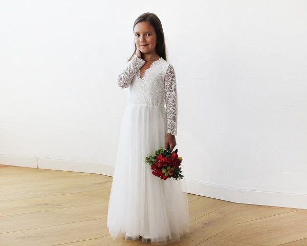 Tulle and lace long sleeves Ivory Flower Girls Gown 5043