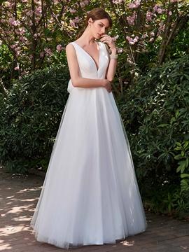 V Neck A Line Backless Garden Wedding Dress
