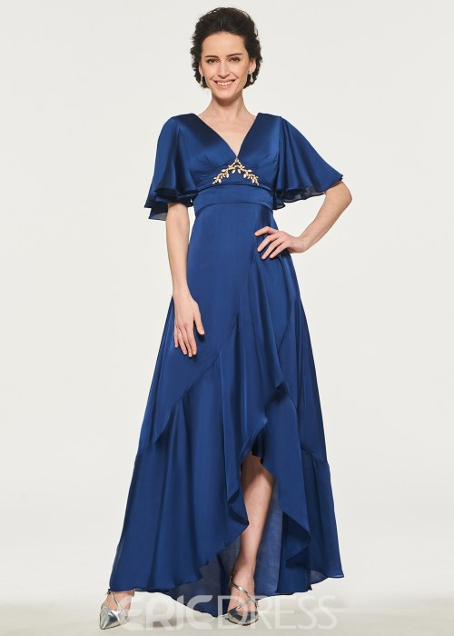 V-Neck A-Line High Low Mother of the Bride Dress