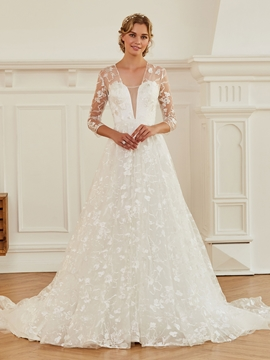 V Neck A Line Lace Wedding Dress with Sleeves