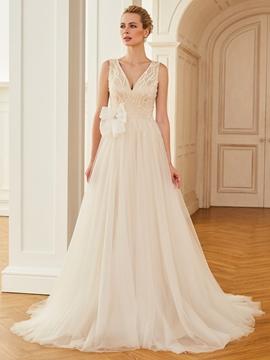 V Neck A Line Tulle Color Wedding Dress