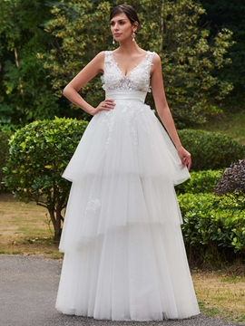 V Neck Appliques A Line Wedding Dress
