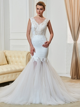 V Neck Backless Lace Mermaid Wedding Dress