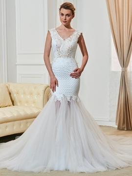 V Neck Backless Lace Mermaid Wedding Dress