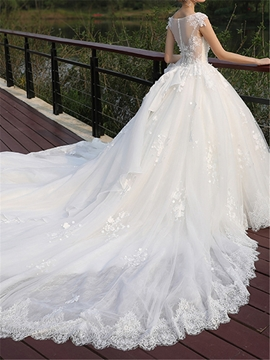 V Neck Ball Gown Chapel Tulle Wedding Dress