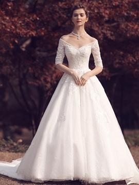 V Neck Beaded Half Sleeves A Line Wedding Dress