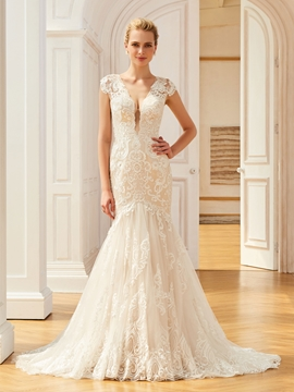 V Neck Cap Sleeves Appliques Mermaid Backless Wedding Dress