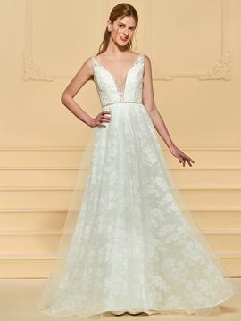 V Neck Lace Backless Wedding Dress