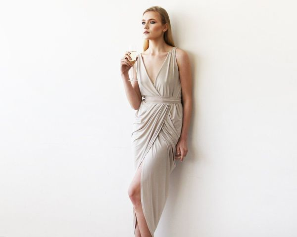 Wrap Tulip Champagne Dress with V Neckline 1154