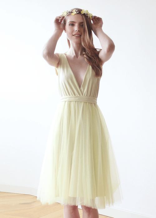 Yellow Tulle Midi Dress 1128