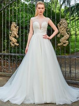 A Line Beaded Chapel Train Wedding Dress