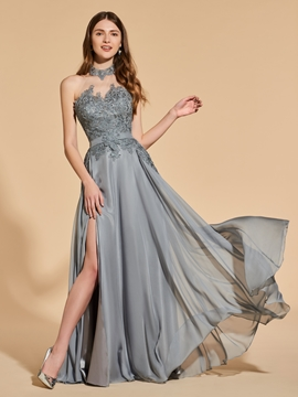 A Line Halter Split Front Backless Prom Dress