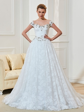 A Line Lace Straps Wedding Dress With Beading