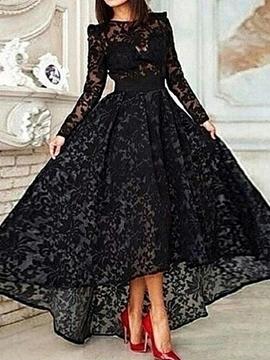 A-Line Long Sleeve Asymmetrical Lace Evening Dress