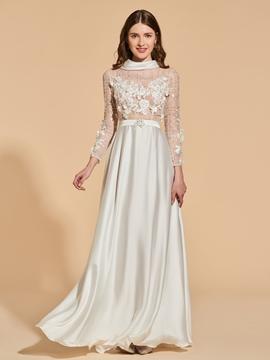 A Line Long Sleeve High Neck Vintage Prom Dress